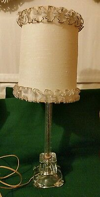 Vintage Antique Clear ETCHED GLASS Working Table LAMP & Ruffled Shade