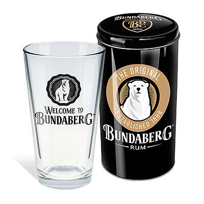 Bundy Bundaberg Rum Conical Glass in Tin Gift Christmas Birthday Man Cave (009F)