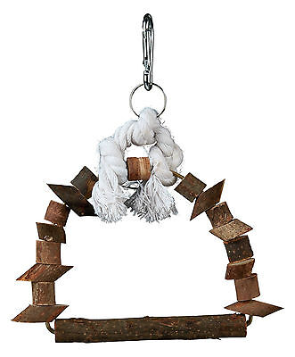 Natural Wooden Arch Bird Swing Perch with Rope 15cm x 20cm