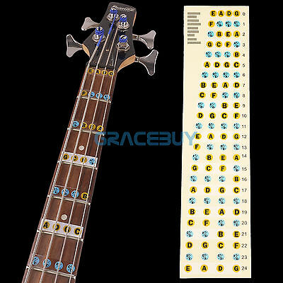 4 String Bass Guitar Fretboard Note labels Beginner Learning Fret Sticker Decals