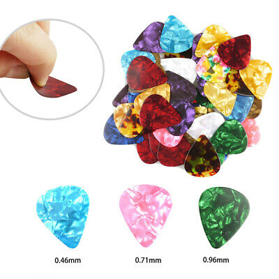 100PCS Alice Acoustic Electric Guitar Bass Picks Colorful Mixthickness Plectrums