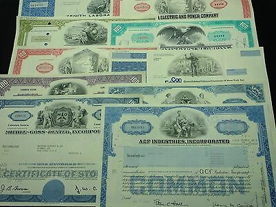 COLLECTION with 10 different U.S. Shares & Bonds Certificates LOT-22