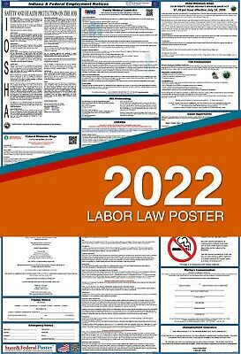 2018 Indiana State and Federal Labor Law Poster, Laminated. Attorney Approved