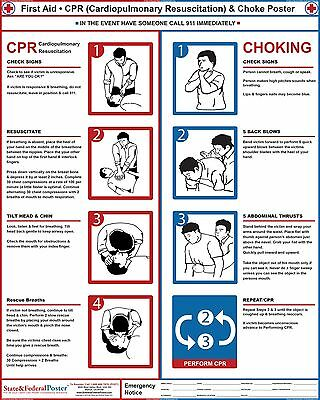 CPR Poster. Choke Poster, Restaurant and Hotel Safety Sign, First Aid CPR Poster