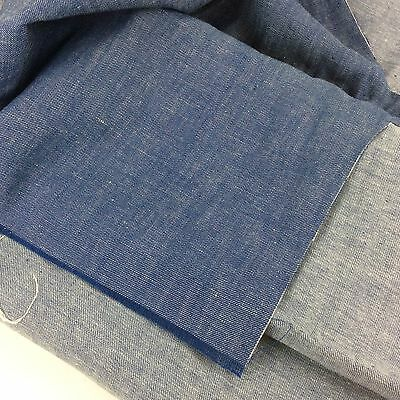 """Medium Blue Chambray Linen Fabric Remnant 48"""" X 141"""" - Flawed"""