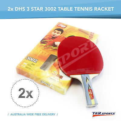 2x DHS 3002 3 Star Table Tennis Rackets Paddle Shake Hand Long Handle Free Post*