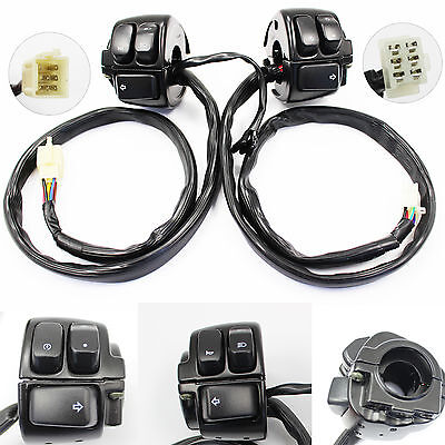 1 Pair Black Handlebar Switch Control with Wire Harness for Harley-Davidson AU