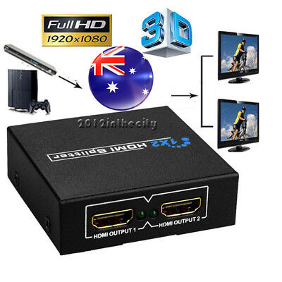 1 In 2 Out HDMI Splitter Amplifier Duplicator Switch Full HD 1080p 3D Foxtel DVD