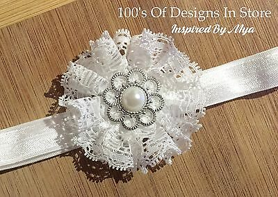 Baby Girls White Lace Headband Flower Photo Prop Hair Band Christening Baptism