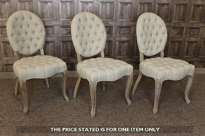 French Style Upholstered Cafe Dining Chair With Button Back In Antique Linen