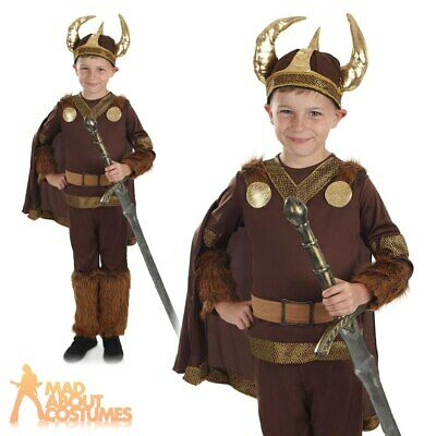Boys Viking Costume Child Saxon Warrior Book Week Fancy Dress Outfit New