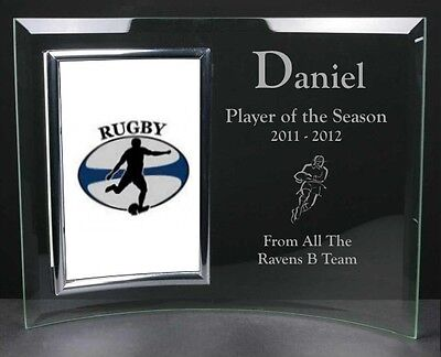 Personalised Engraved Glass Photo Frame Rugby Football Award Trophy & Prize