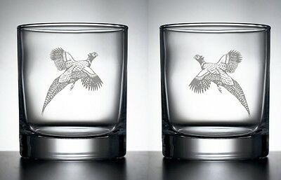 Engraved Pair Whisky Glasses Shooting Trophy Gift Pheasant Game Bird