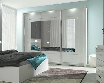 kleiderschrank hochglanz weiss panarea 200 cm mit led und. Black Bedroom Furniture Sets. Home Design Ideas
