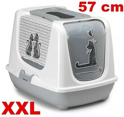 Maison De Toilette Chat Xxl /grand Bac Litière Chat Cats In Love As97384Cl
