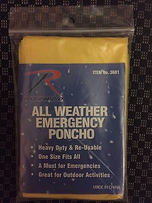 1 Emergency Rain Poncho Jacket Coat Outdoor Camping Hiking trail sport Yellow