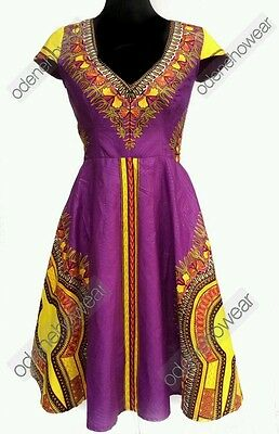 Odeneho Wear Ladies Fully Lined Dashiki Dress. African Clothing.