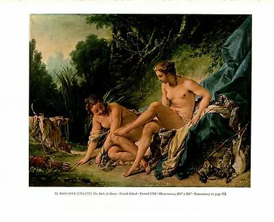 "1951 "" The Bath Of Diana""- Boucher - Nude Women -  Antique Vtg Print 13 x 10"""