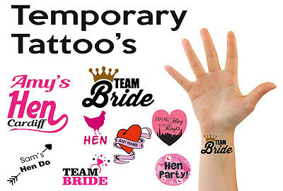 Personalised Custom Hen Do Night Party Temporary Tattoos Transfers