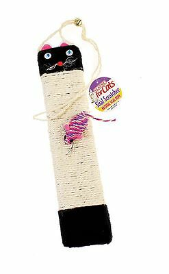 Hanging Cat Scratching Post with Cat Face & Toy Mouse Sisal Rope Scratch Board