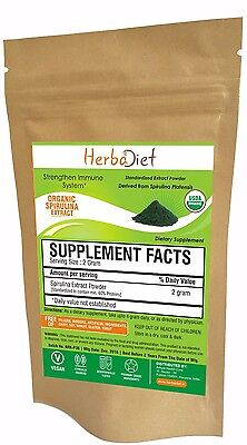 USDA Organic SPIRULINA Powder Green Algae Chlorophyll  Non GMO Non Irradiated