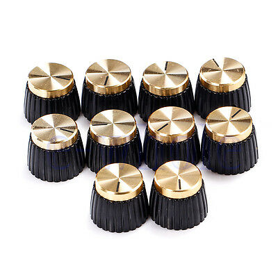 10 X Guitar AMP Knobs Black With Gold Cap fits Marshall Amplifier DT