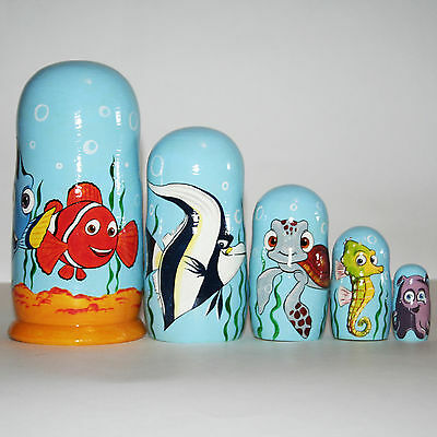 Nesting doll Finding Nemo Disney russian matryoshka dolls Hand painted Signed