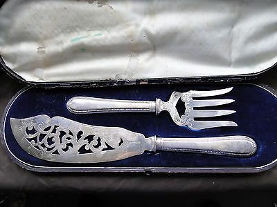 Box Set Fish Servers, Silver Plate, Antique, English, London 1870, Victorian