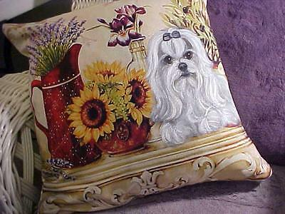 Reduced! Maltese Hand Painted Still Life Pillow Sun Flowers!