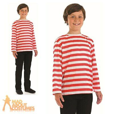Child Red and White Striped Jumper Book Week Day Boys Girls Fancy Dress Outfit