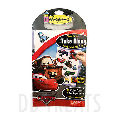 Colorforms Brand Disney Cars Take Along Restickable Set NEW! FREE SHIPPING!