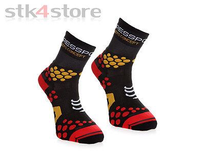 Calcetines Compressport Pro Racing Socks Trail V2.1 Talla 45/47 - Negro / Rojo