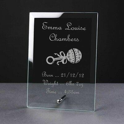 Engraved Personalised Glass Frame Plaque Birth Christening Gift Rattle