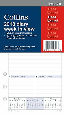 Collins 2017 Diary Week To View Insert Refill Personal Organiser Reminder