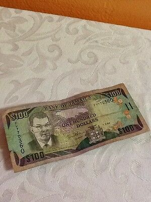Acceptable Condition! JAMAICA 100 DOLLARS 1.3.1994 Free Shipping! B9