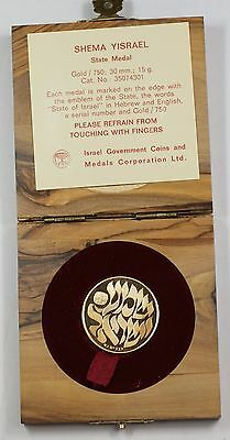 Israel Shema Yisrael 18k 15g Proof Gold State Medal with Box and COA