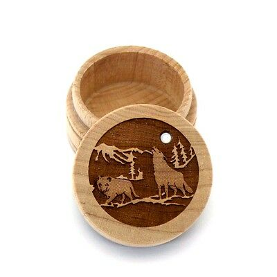 Wolf Pack Maple Wood Carved Round Trinket Box Western Inlaid Mother of Pearl