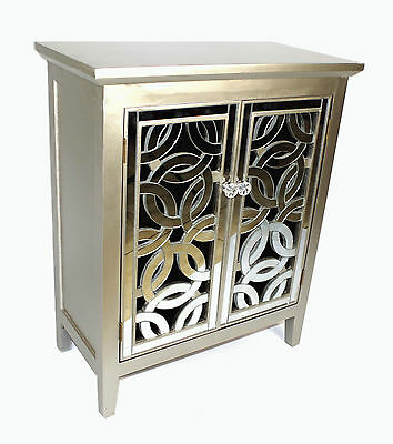 Mirror Fronted Antique Style Silver Wooden Cabinet Double Door Solid Wood D03