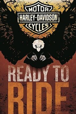 HARLEY DAVIDSON MOTORCYCLE READY TO RIDE EAGLE LOGO POSTER NEW 24x36 FREE SHIP