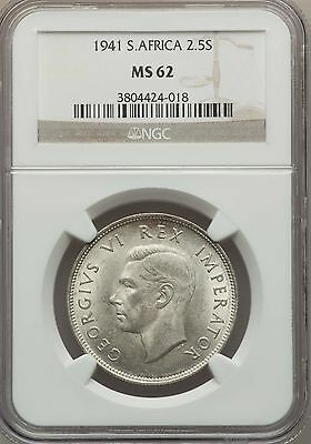 1941 South Africa 2 1/2 Shillings NGC MS 62