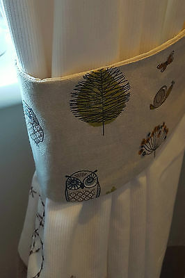 Handmade woodland themed curtain tie backs