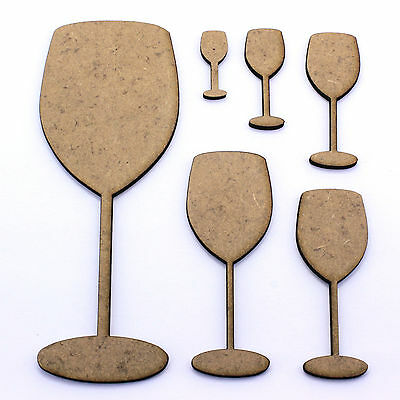 Wine Glass Craft Shapes, Embellishments, Tags, Decorations. 2mm MDF Wood