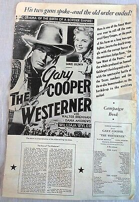"""Movie Campaign Book for Reissue of """"The Westerner"""" Gary Cooper Walter Brennan"""
