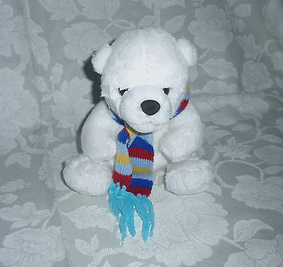 Lovely Polar Bear in Multicoloured Scarf Soft Cuddly Plush Toy