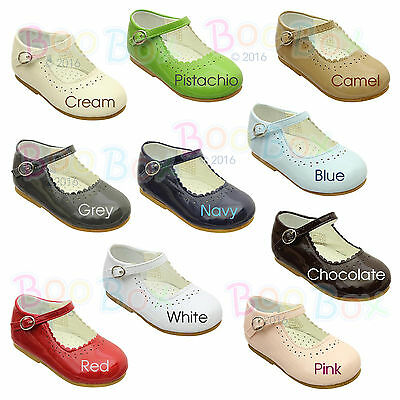Baby Girls + Girls Patent Faux Leather Mary Jane Flat Strap Shoes UK Sizes 1-8