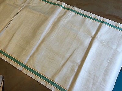 Vintage 2 Yds Linen KITCHEN TOWEL Material Green Yellow Striped