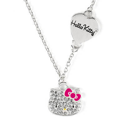 Hello Kitty Pave Heart Necklace Sanrio Crystals Bling Shiny Pink Bow NWT