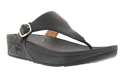 46af80cd945db1 FITFLOP™ THE SKINNY™ Deluxe Black Leather Wedge Thong Sandal NWT Sz ...