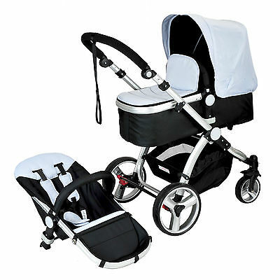 Silver 2 in 1 Aluminium Baby Toddler Pram Stroller Jogger with Bassinet 4 Wheel