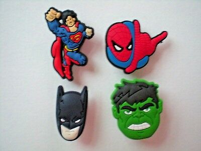 Jibbitz Shoe Charm Plug Buttons Fit Croc WristBands Bracelet Belts 4 SUPER HEROS